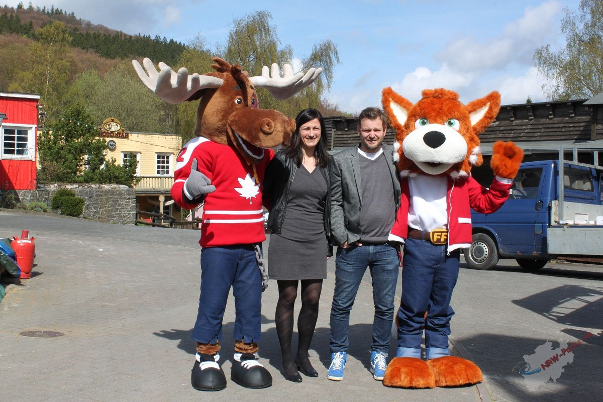 Moose; Christine Shütte, Pressesprecherin; Andreas Sievering, General Manager und Funny Fux Jr.
